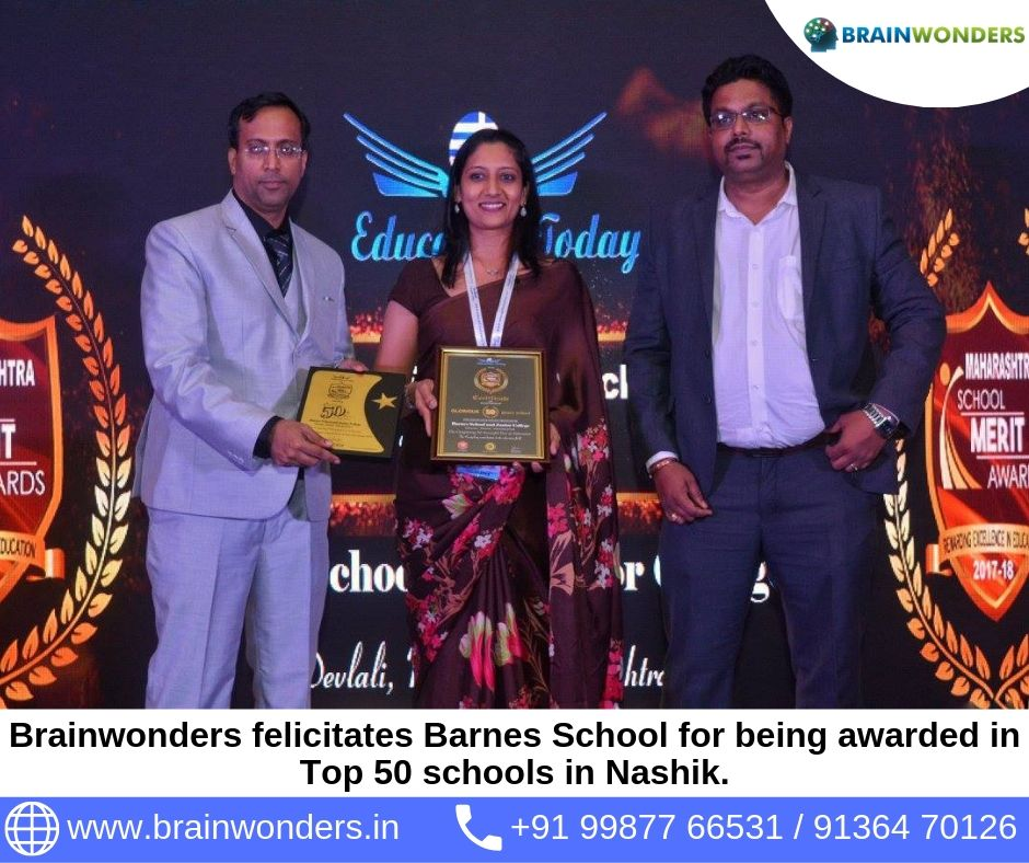 Brainwonders felicitates Barnes School at Maharashtra Merit Awards - 2017 for being awarded in Top 50 schools in Nashik