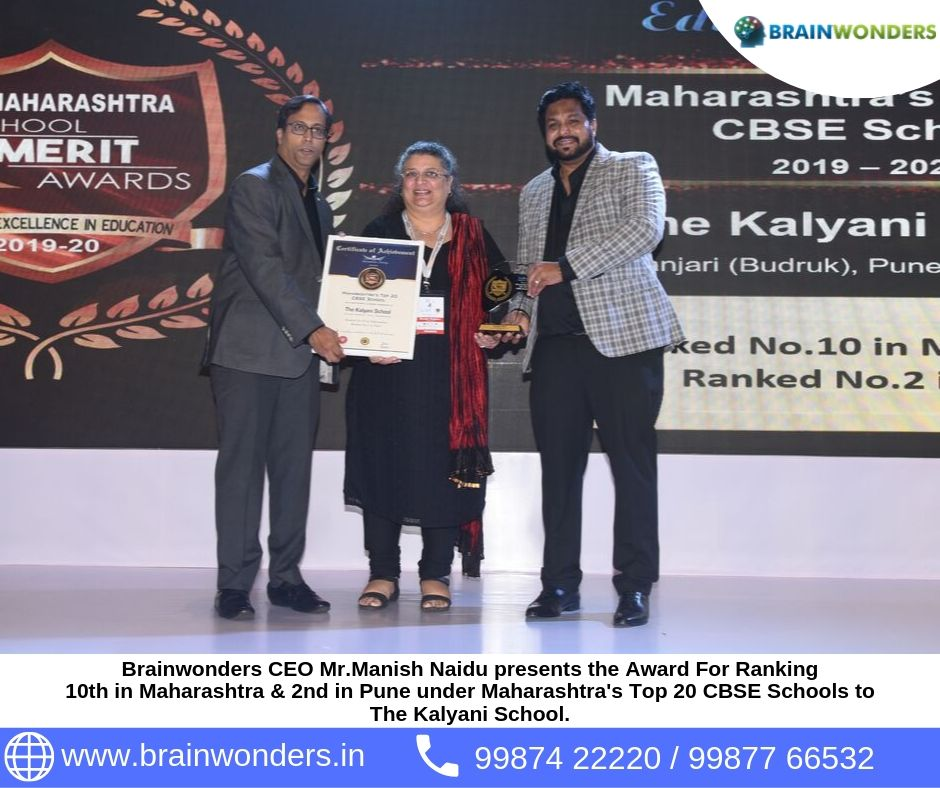 Brainwonders CEO Mr.Manish Naidu presents the Award For Ranking  10th in Maharashtra _ 2nd in Pune under Maharashtra_s Top 20 CBSE Schools to  The Kalyani School.  biometric test for students, career counselling, career counsellor mumbai,  career counselo