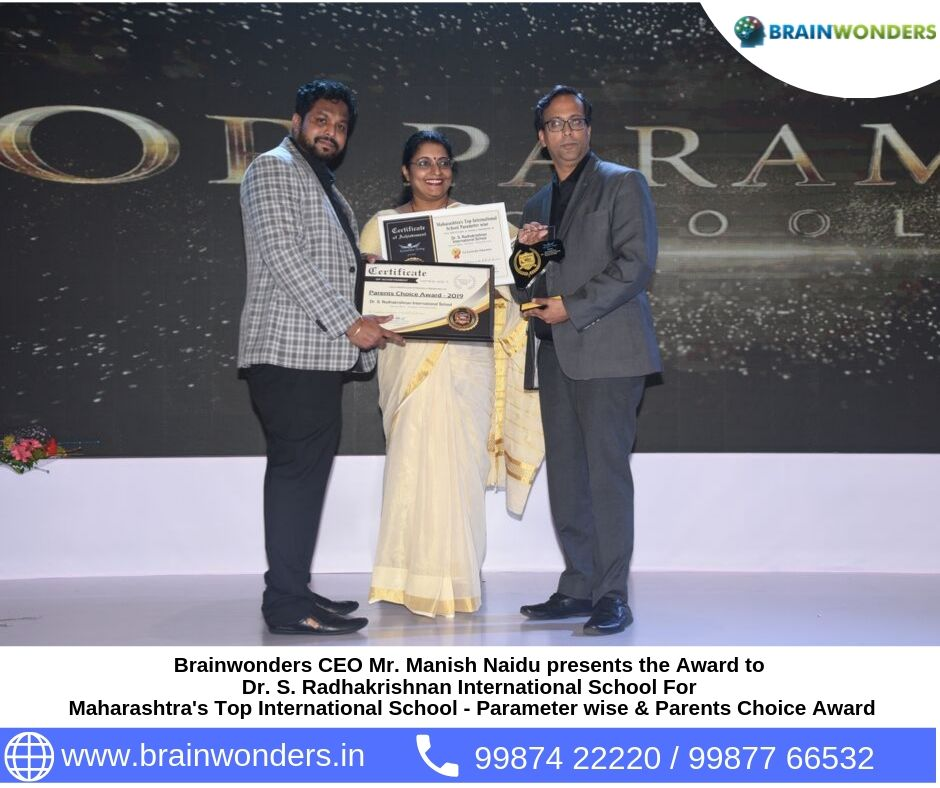 Brainwonders CEO Mr. Manish Naidu presents the Award to  Dr. S. Radhakrishnan International School For  Maharashtra_s Top International School - Parameter wise _ Parents Choice Award. biometric test for students, career counselling, career counsellor mumb