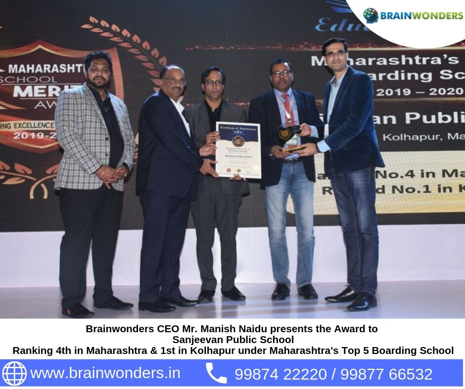Brainwonders CEO Mr. Manish Naidu presents the Award to  Sanjeevan Public School Ranking 4th in Maharashtra _ 1st in Kolhapur under Maharashtra_s Top 5 Boarding School. biometric test for students, career counselling, career counsellor mumbai,  career cou