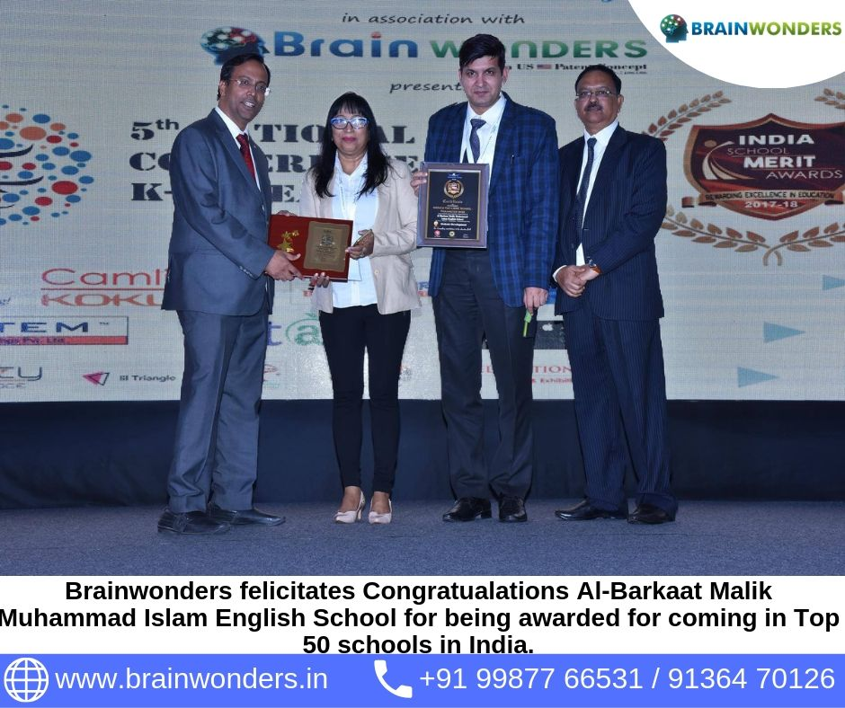 Brainwonders felicitates Congratualations Al-Barkaat Malik Muhammad Islam English School for being awarded for coming in Top 50 schools in India.  biometric test for students, career counselling, career counsellor mumbai,  career counselor near me