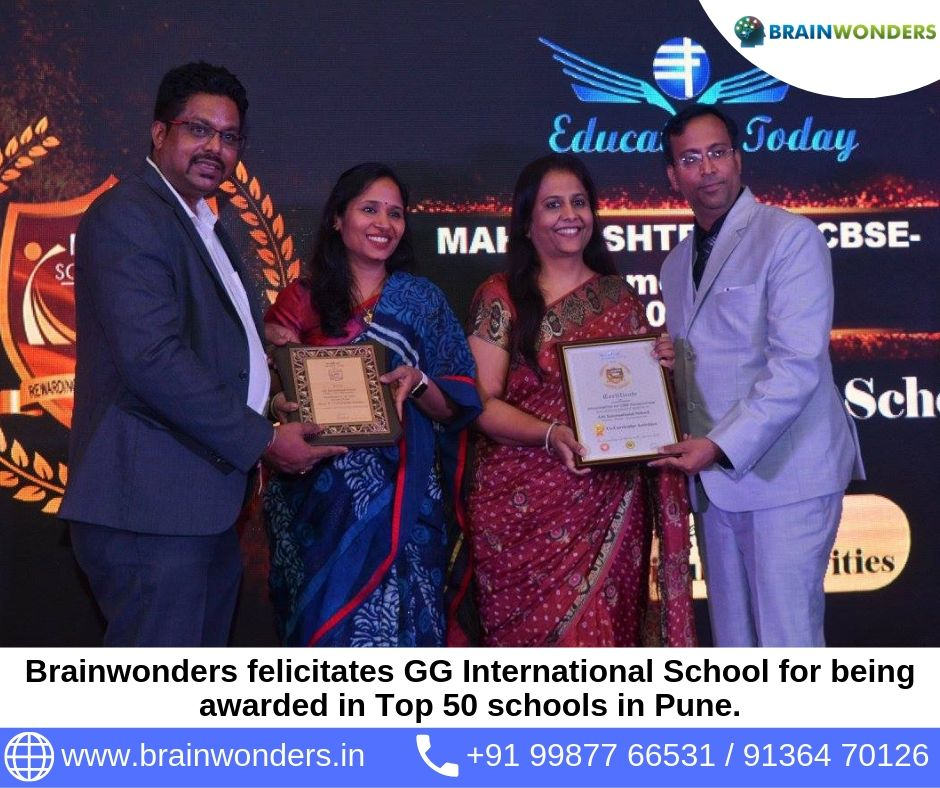 Brainwonders felicitates GG International School for being awarded in Top 50 schools in Pune. biometric test for students, career counselling, career counsellor mumbai,  career counselor near me