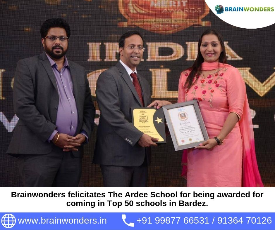 Brainwonders felicitates The Ardee School for being awarded for coming in Top 50 schools in Bardez.  biometric test for students, career counselling, career counsellor mumbai,  career counselor near me